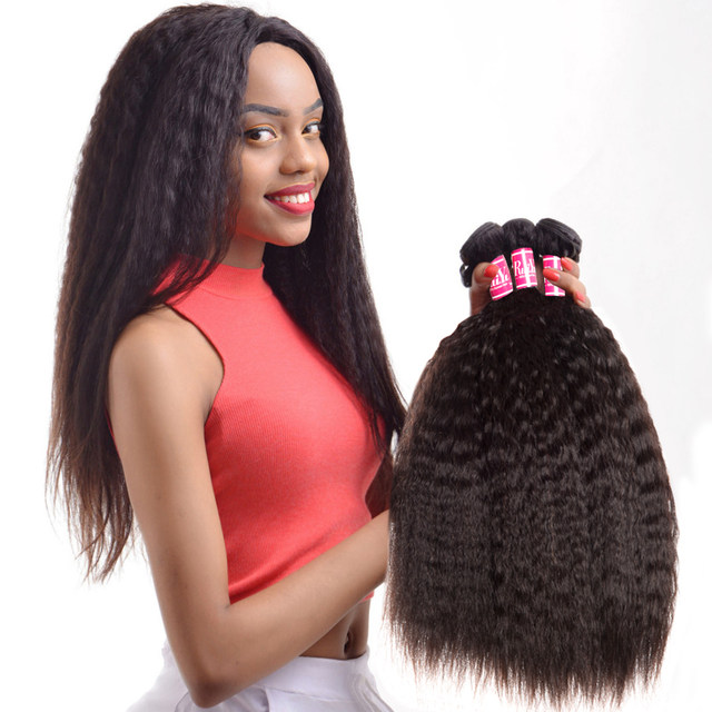 Online Shop Ruiyu Hair Peruvian Kinky Straight Hair Weave Bundles