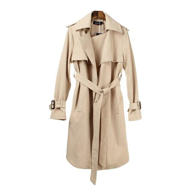 Пальто Для Женщин 2016 Хаки И Синий С Длинным Рукавом Женская Мода Ветровка Длинное Пальто
