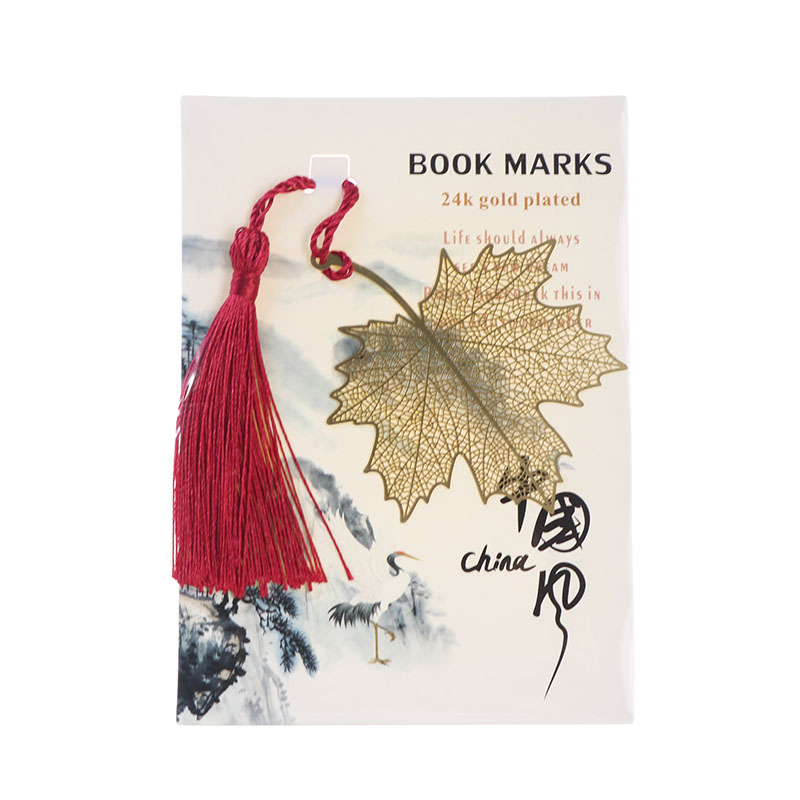 1pc Metal Bookmark Chinese Style Bookmark Brass Hollow Plating Maple Leaf Bookmark Children Students Stationery Gifts