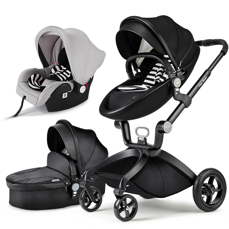 Hot mum baby strollers   3 in 1 baby carriage leather 0-3 years original hot mum baby strollers 2 in 1 bb car folding light baby carriage six free gifts send rain cover