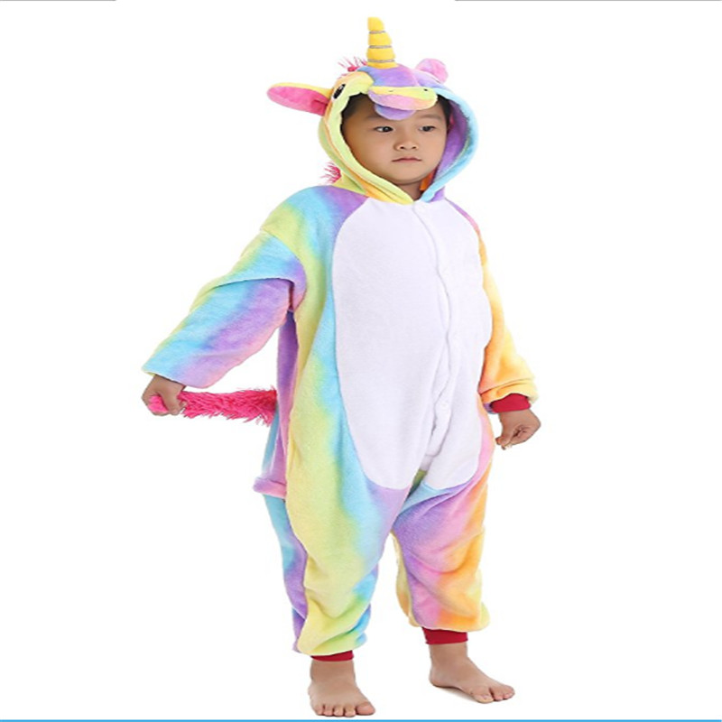 Unicorn Pajamas Unisex Flannel Pjs For Children Unicornio Pyjama Cartoon Pijamas Child Costume Onesies Kids Robe
