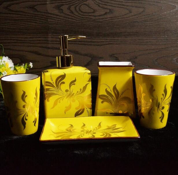 5pcs Sets Chinese Emperor Yellow Bathroom Ceramic Accessary Set 1 Liquid Bottle 2 Cups
