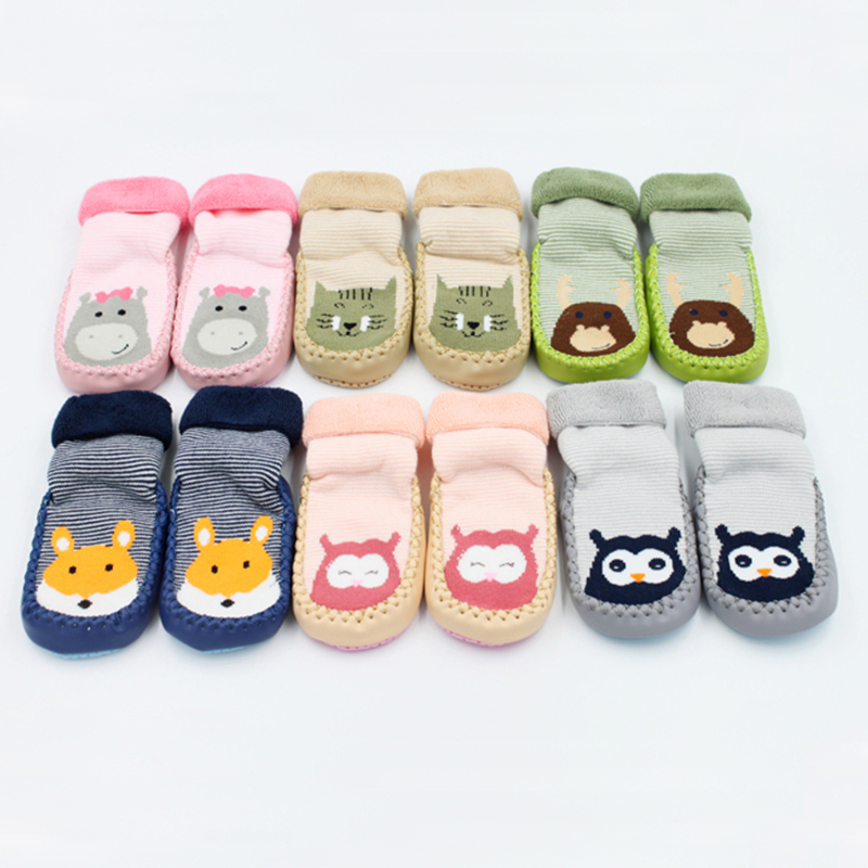 0 22 Months Autumn Winter Thicken Cartoon Cotton Terry Baby Floor Socks Non slip Baby Toddler Socks Shoes Warm Animal Foot Socks in Foot Socks from Mother Kids
