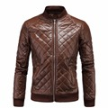 New Arrival Men Leather Jacket Zipper Design Male lattice Casual PU Jackets High Quality mens winter leather jackets