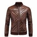 Nueva Llegada de Los Hombres Chaqueta de Cuero de Diseño de La Cremallera Masculina Ocasional del enrejado PU Chaquetas de Alta Calidad para hombre chaquetas de cuero de invierno