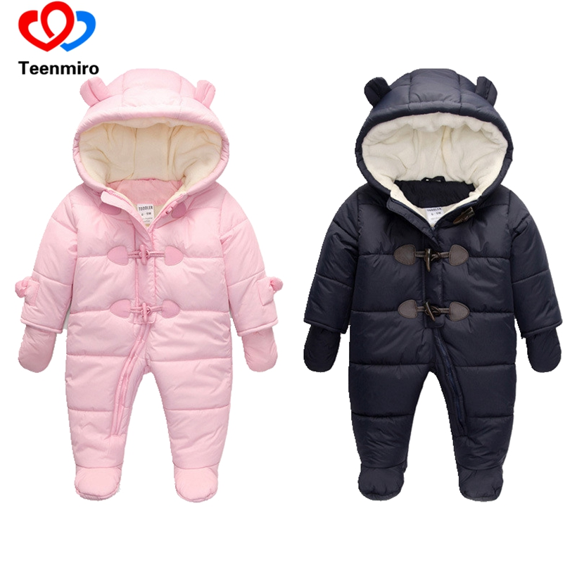 Children Winter Snow Jumpsuit Baby Romper Fleece Romper Infant Boys Coverall Newborn Warm Snowsuit-Baby Girls Kombinezon Dziecko