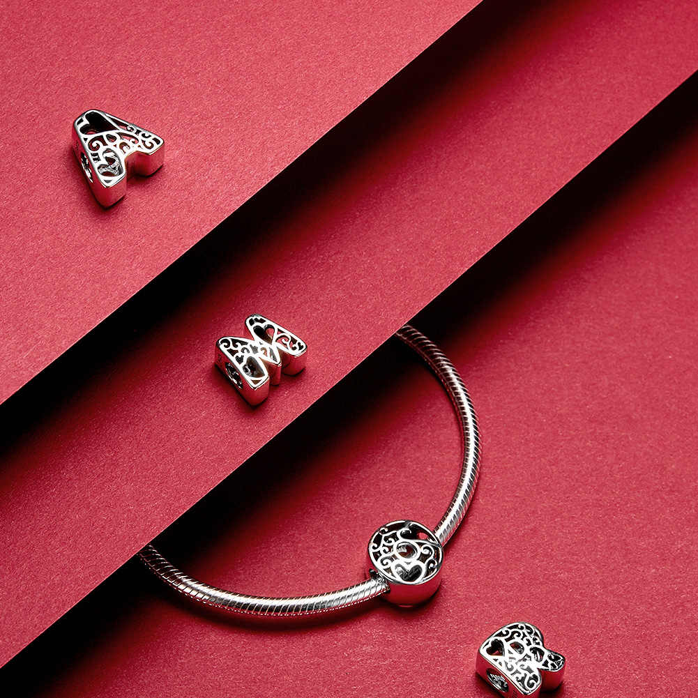 Bamoer engraçado bolha letra alfabeto contas de metal para prata original 925 pulseira coração padrão encantos diy jóias scc1229