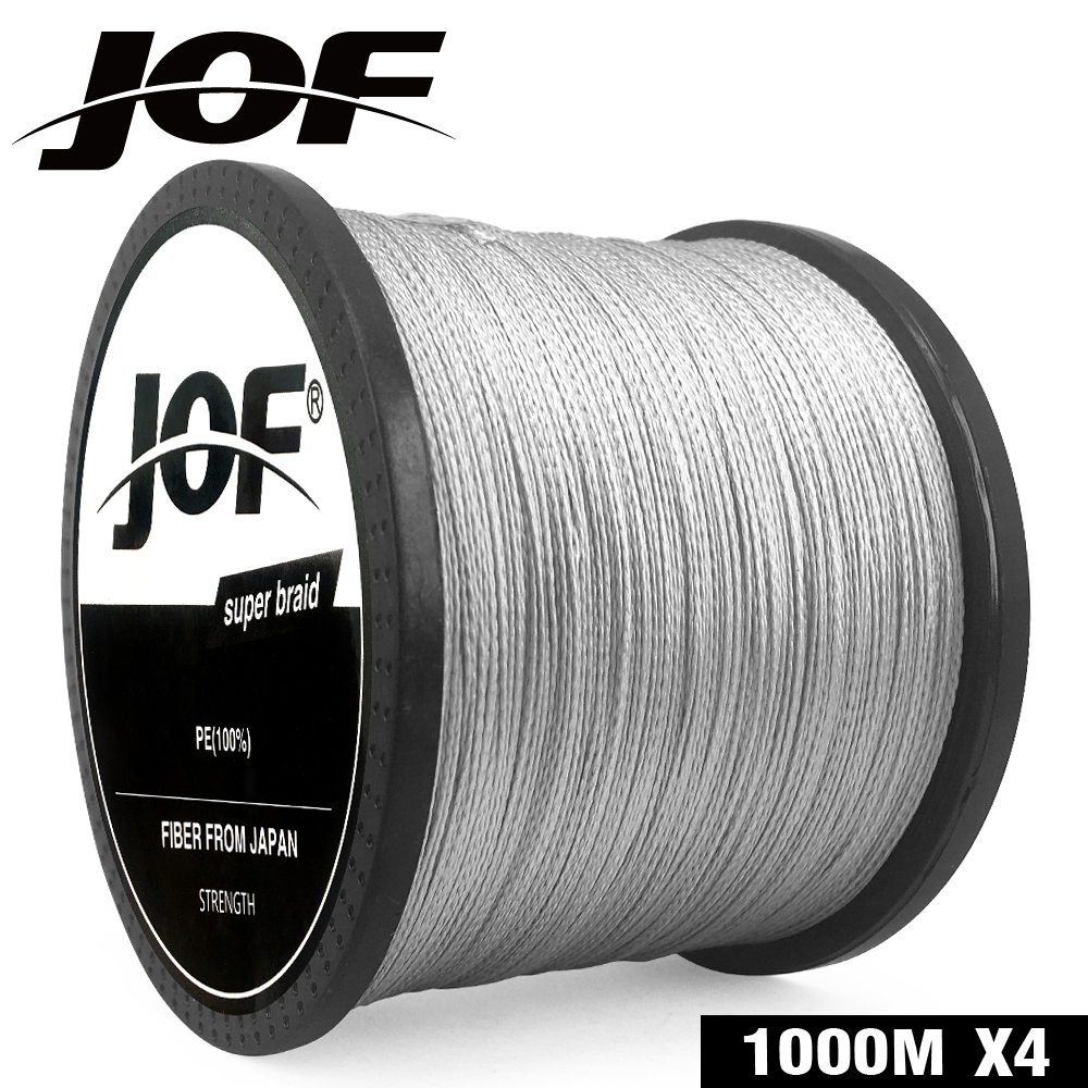 JOF Fishing Line Gray PE 100M 150M 300M 500M 1000M 4 Strands Pesca Weaves Braided Carp Fishing Line 10LB-82LB