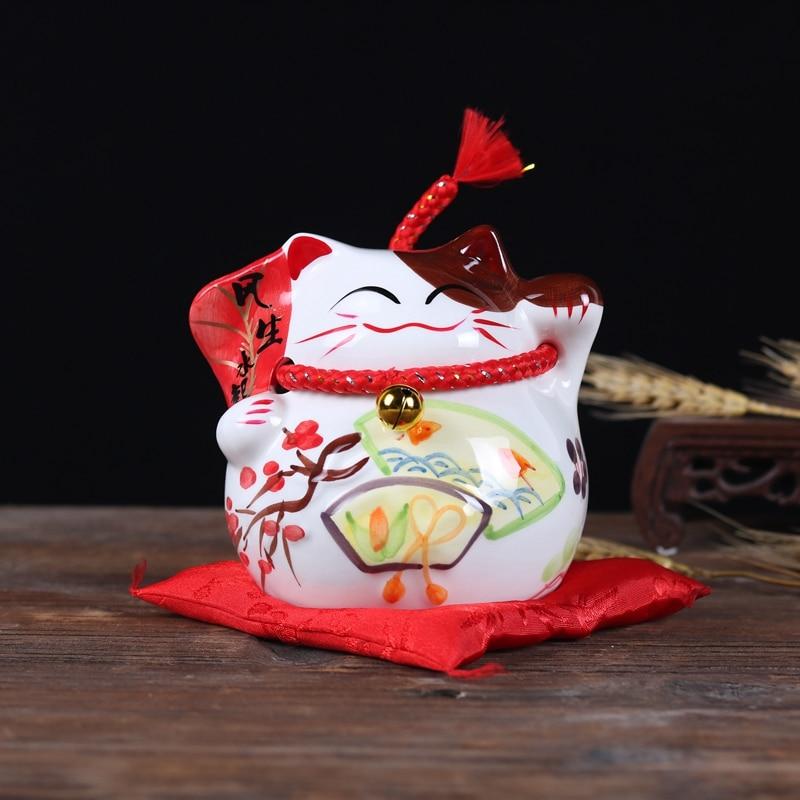 New Design Fortune Cat Ceramic Handicraft Piggy Bank Children Gifts Money Boxes Home Decoration Office Decor Lucky Cat Coin Box