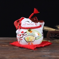New Design Fortune Cat Ceramic Handicraft Home Decoration Children Gifts Money Boxes Piggy Bank Office Decor
