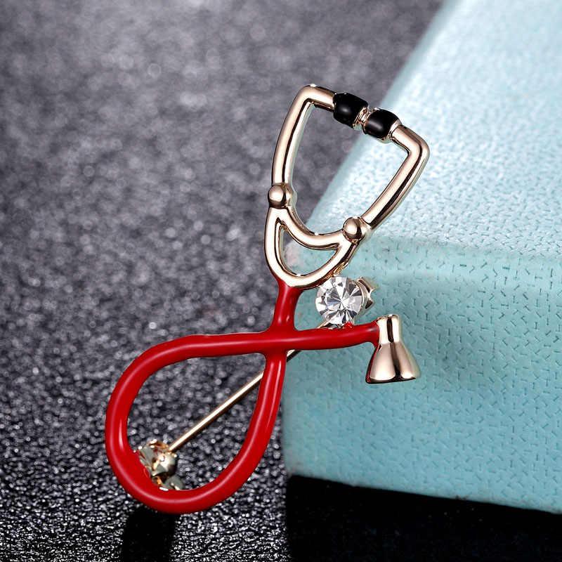 Zlxgirl Pria Stetoskop Bentuk Bros Enamel Pin Perhiasan Anak-anak Natal Hadiah Gratis Busana Pria Syal Pin Topi dan Tas Pin