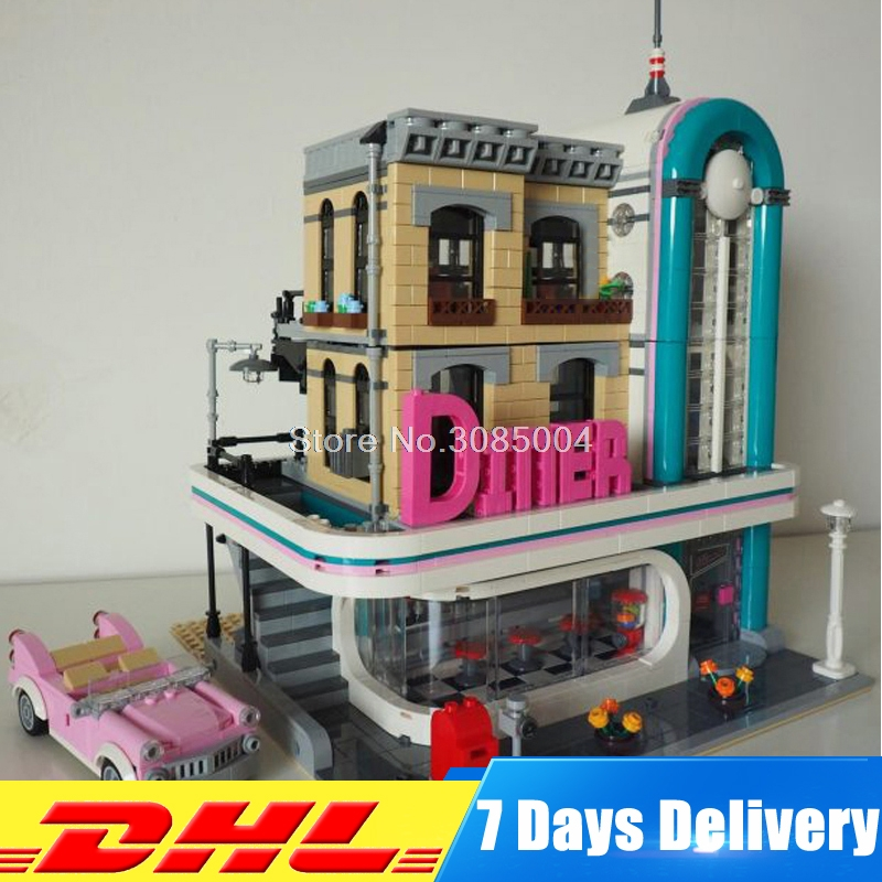 IN STOCK Lepin 15037 Streetview Series The Downtown Diner Set Building Blocks Bricks 10260 Model Funny Toys as Kid New Year Gift lepin 21012 the beatles john lennon paul mccartney yellow submarine building blocks models compatiable with lego kid gift set