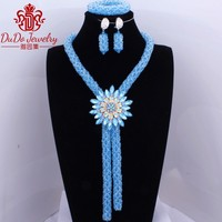2018 Imitation Blue Dubai Choker Necklace For Bride Party Sexy Bridal African Nigerian Wedding Beads Jewelry Set Jewellery set