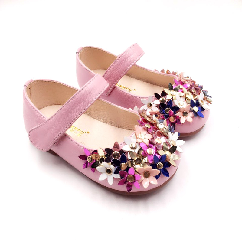 New Designs Baby Girls Princess Shoes Beading Natural Leather Shoes For Kids Handmade Children Shoes Fashion Girl Flats