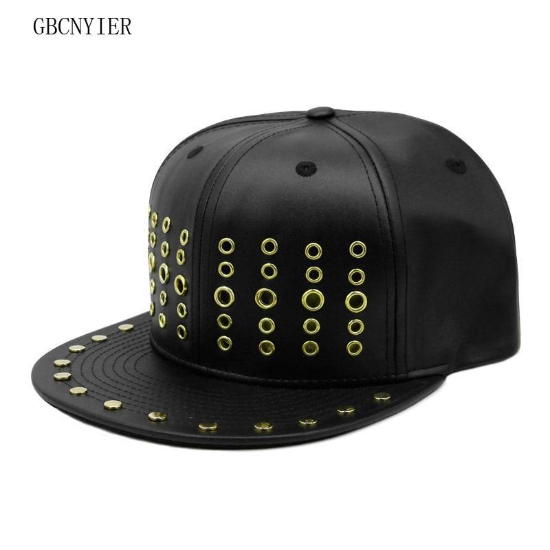 GBCNYIER Cool Male And Female Hip Hop Hat Metal Rivets Bone Flat Brim Visor Leisure Sport Sun Hat Dance Show Team Baseball Caps