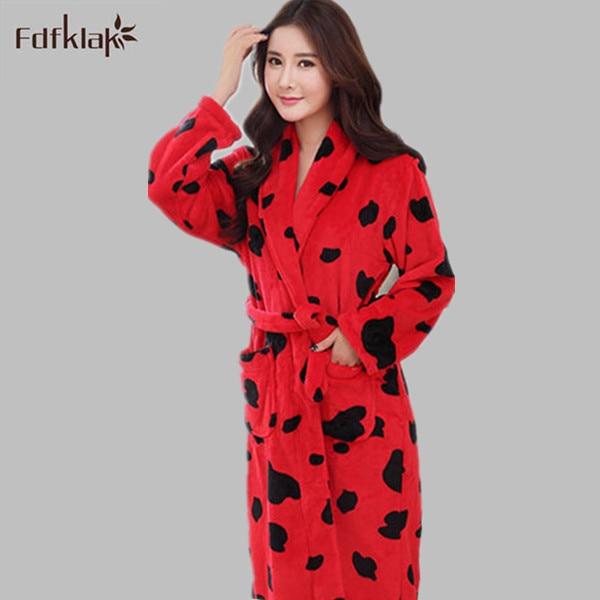 Lovers Bathrobes Couple Sleepwear Leopard Warm Nightwear Cows Female Flannel Nightgown Women Long Sleeve Kimono Ladies Bath Robe