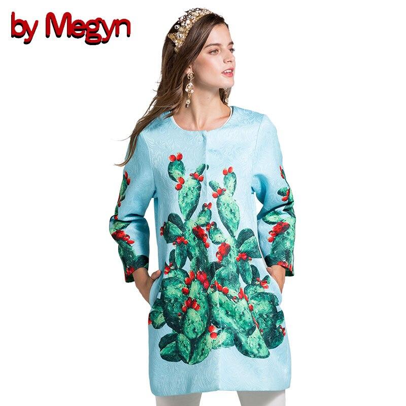 by Megyn 2017 autumn women coat fashion runway cactus print plus size XXXL trench coat elegant lady long sleeve overcoat female