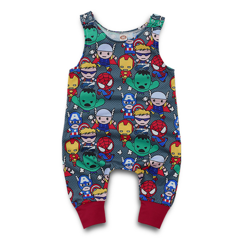 Cute Infant Baby Boy Girl Print Vest Sleeveless Cartoon Backless Romper Jumpsuit