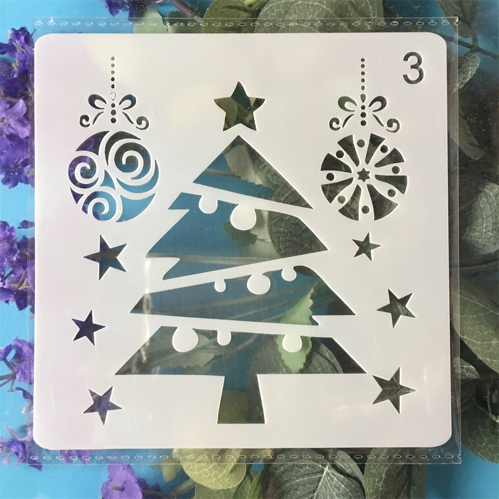 13cm Christmas Tree DIY Ball Layering Stencils Painting Scrapbook Coloring Embossing Album Decorative Paper Template