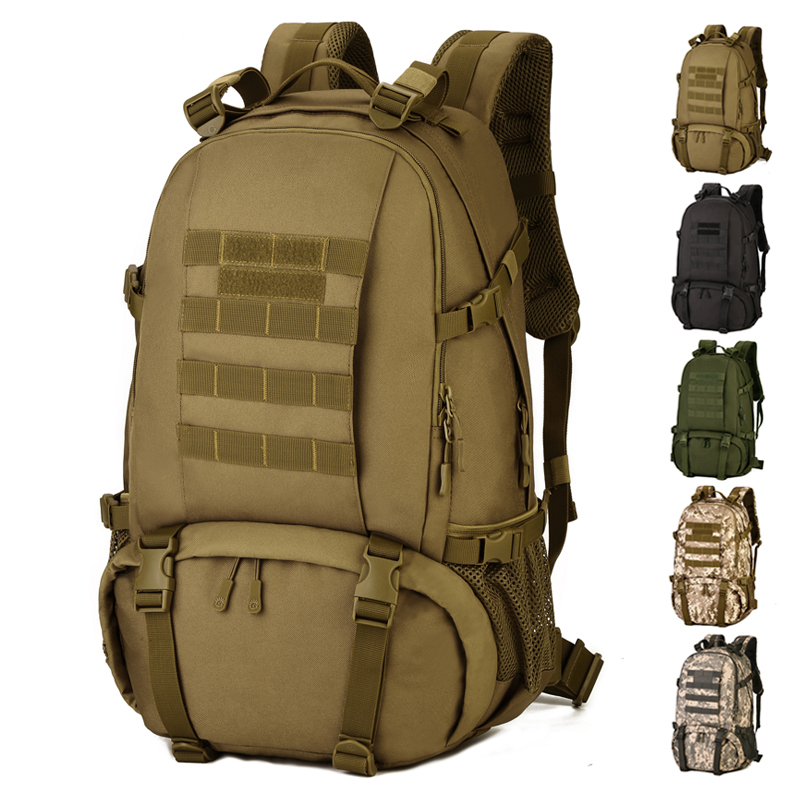 Men 40L Large Outdoor Tactical Backpack With Bottom Shoes Storage Camping Hiking Backpack Sports Bags Military
