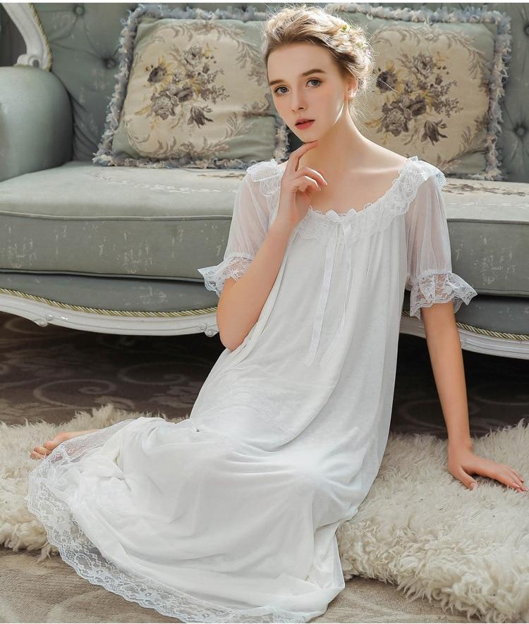 2019 Summer New Modal Sleepwear Women Long Nightgown Home Sleeping Dress Ruffles Nightdress Indoor Nightwear Clothing 0120#