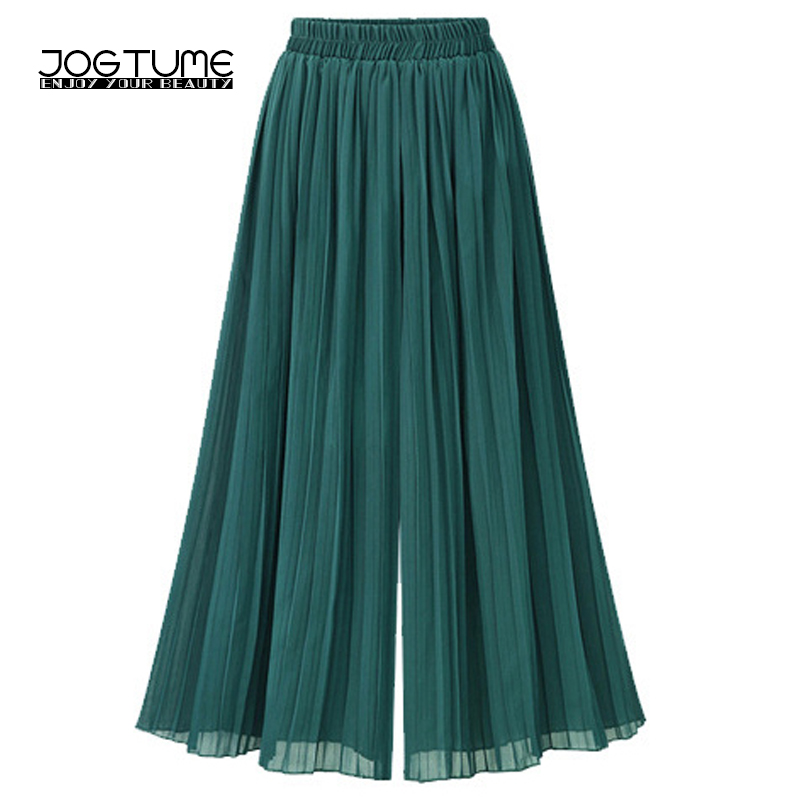 Women   Wide     Leg   Chiffon   Pants   High Waist Plus Size 4xl 5xl Summer Casual Loose Solid Palazzo Feminino Long Pleated   Pants   Green