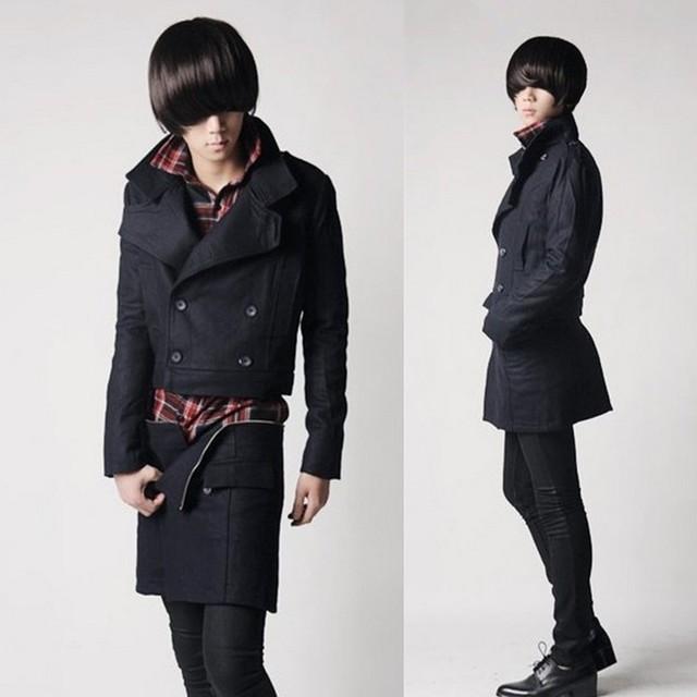 2017 nova maré trincheira masculino personalidade da moda Coreana casuais casaco de lã longo casaco de trincheira dos homens do falso duas peças