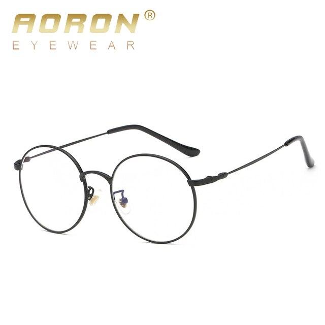 89cdeaa9d AORON الأزياء نظارات الضوء الأزرق الرجعية الإطار المعدني لمكافحة بلو راي  الكمبيوتر نظارات خمر مصمم نظارات