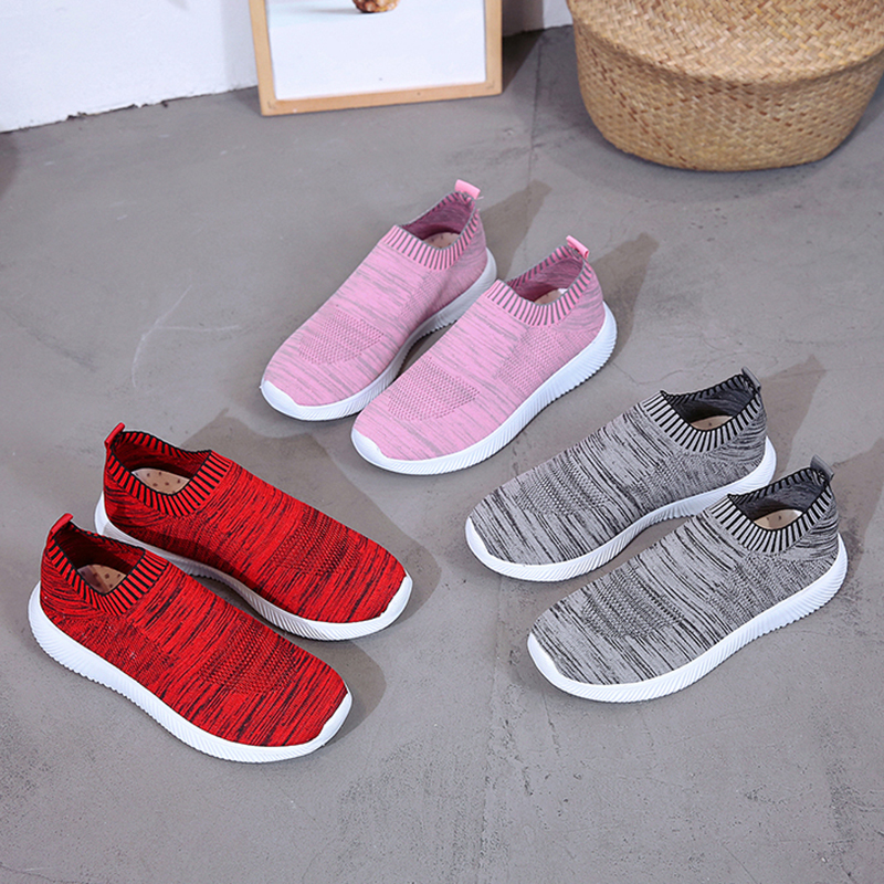 HTB1dwsOajzuK1Rjy0Fpq6yEpFXaa Rimocy plus size breathable air mesh sneakers women 2019 spring summer slip on platform knitting flats soft walking shoes woman