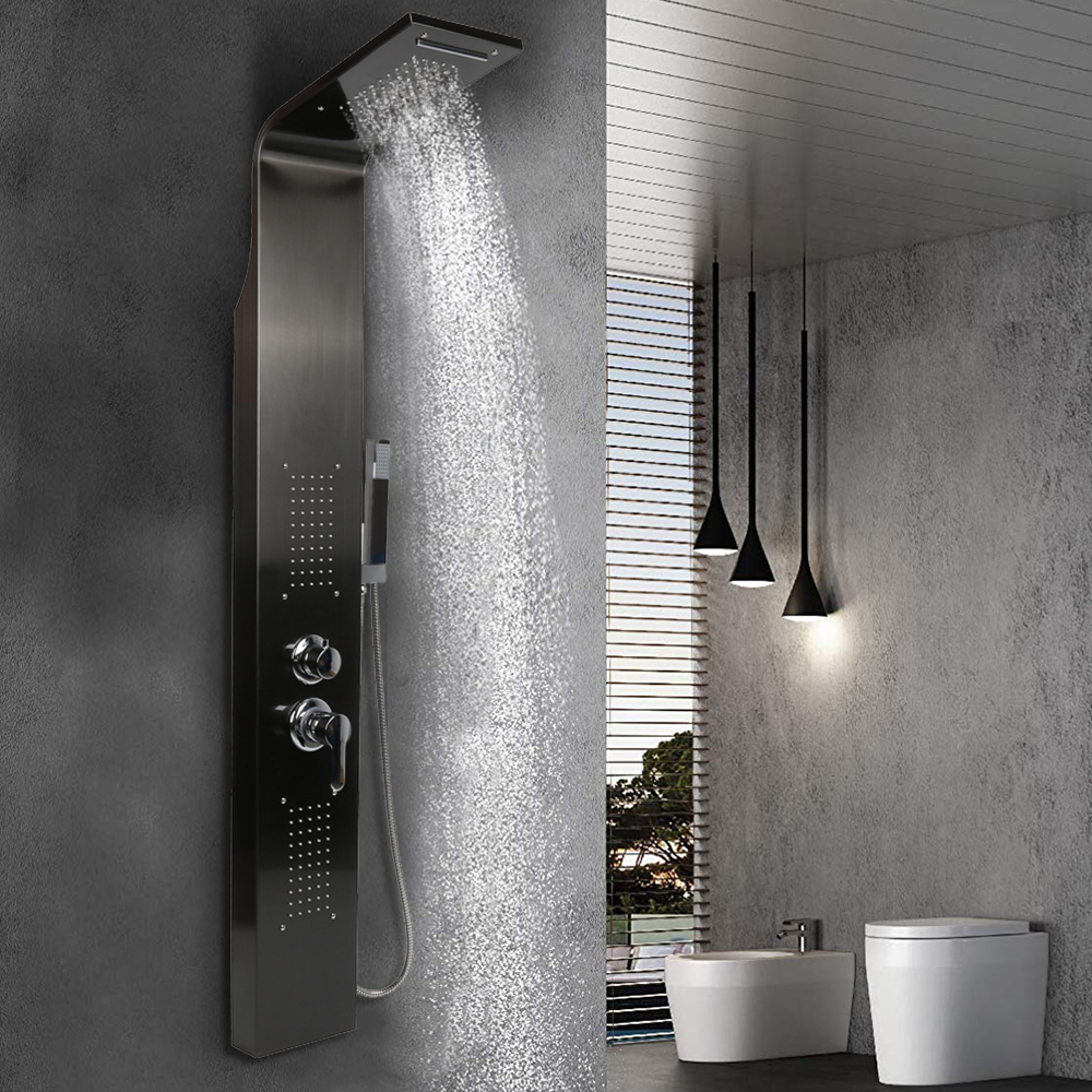 Stainless Steel Waterfall Rain Shower Panel With Massage System Tub Spout Handshower Column Bathing Screen Shower Mixer HWC