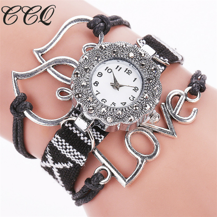 CCQ Brand Popular Watches Women Love Heart Rhinestone Bracelet Quartz Watch Girl Knitting Faux Luxury Female Wristwatch Gift C76 love heart hollow out bracelet watch