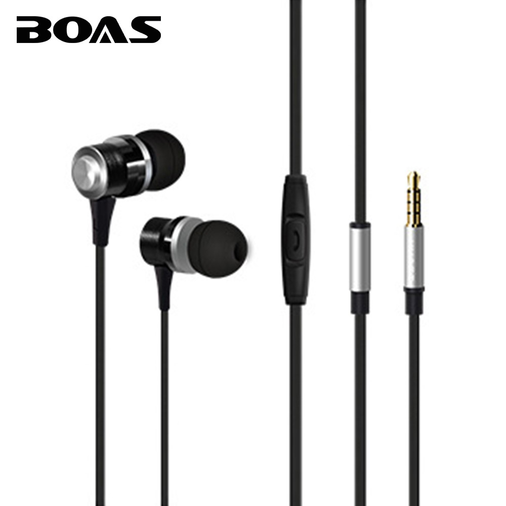 BOAS Wired Earphones with Microphone In-ear Headphone High Quality Stereo Music Headset 3.5mm Jack for Iphone Xiaomi Smartphones keeka mic 103 stylish universal 3 5mm jack wired in ear headset w microphone red blueish green