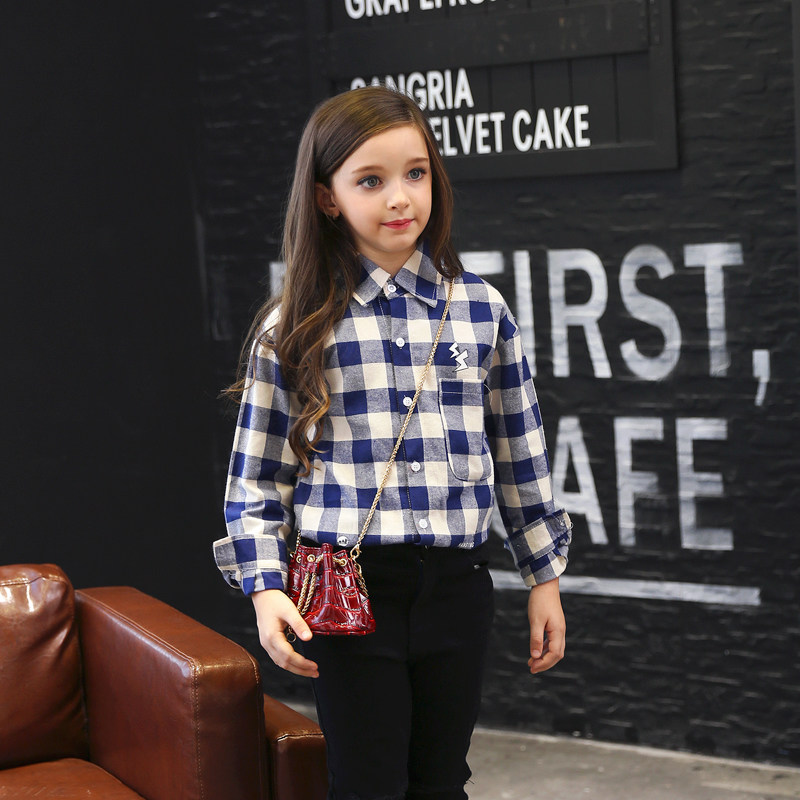 2016 Autumn Fall Girls Blouse Shirt Top Checkred Plaid Shirt for Teens Kids Children Age56789 10 11 12 13 14 15 16Years Old