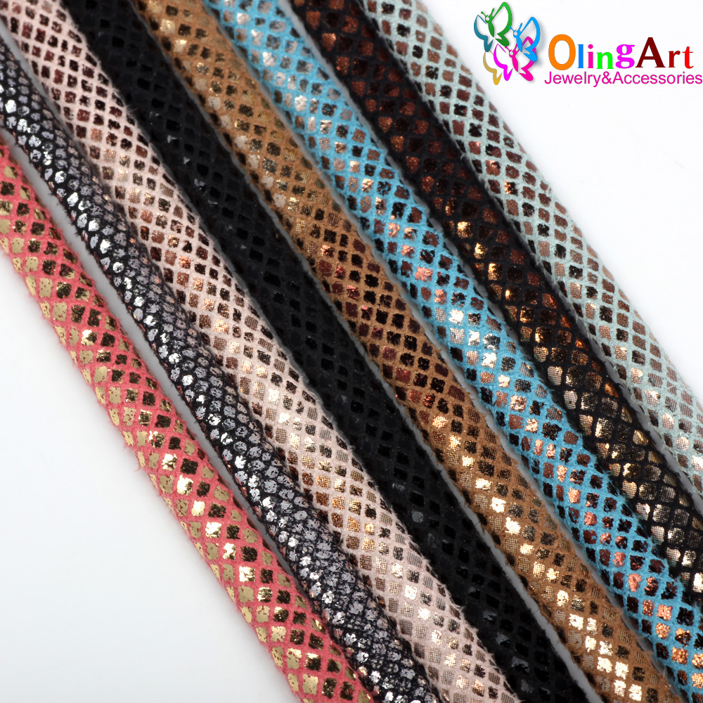 OlingArt 6mm 2m/lot Half round PU Leather Cord Rope For European style DIY Necklace Bracelet choker Craft Jewelry Making NEW