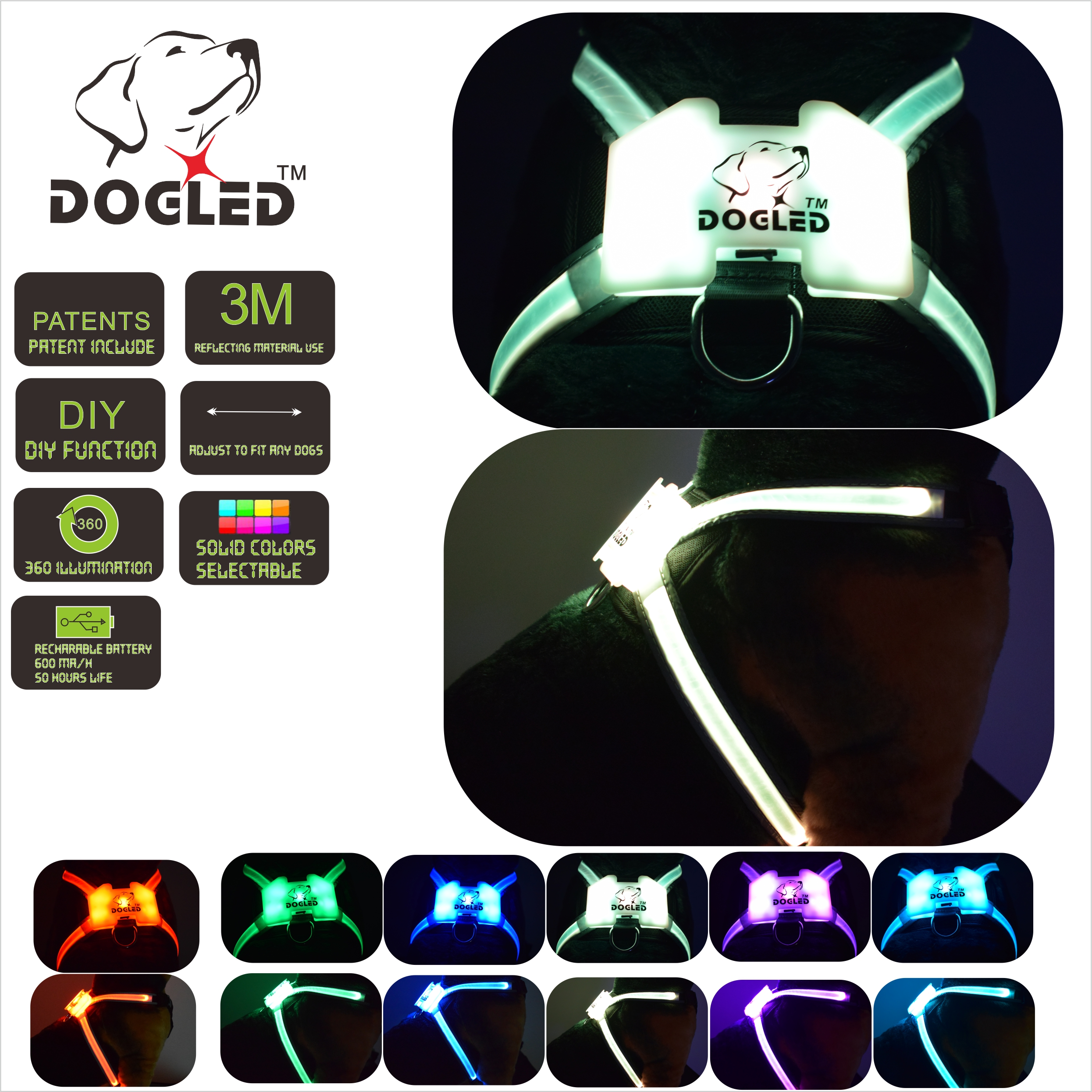 dogled dog walkigng Reflective Harness for Dogs Including Multicolored LED Fiber Optics in Harnesses from Home Garden