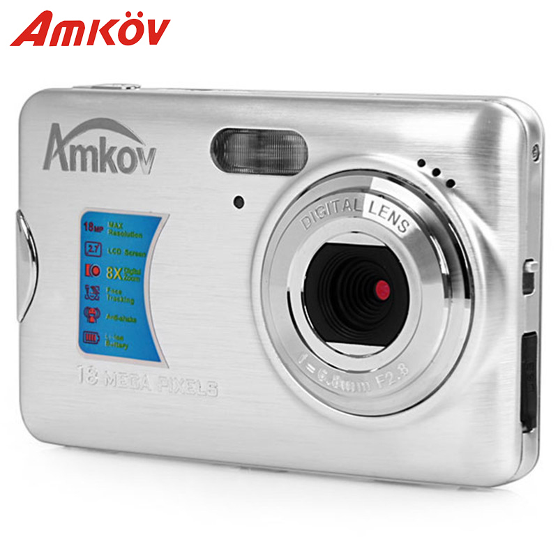 Original Amkov AMK-CDFE Professional Camera Compact Camera 8mp 2.7Inch LCD 9.5 * 6 * 2cm Mini Portable HD Camera Digital Cameras
