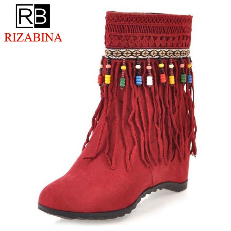 fe073a199ee319 ivoire jaune Noir Glands Style National Rizabina Taille Hauteur Mi Feminina  Hiver 33 mollet Croissante 43 rouge Bottes Chaud Femmes Botas Chaussures ...