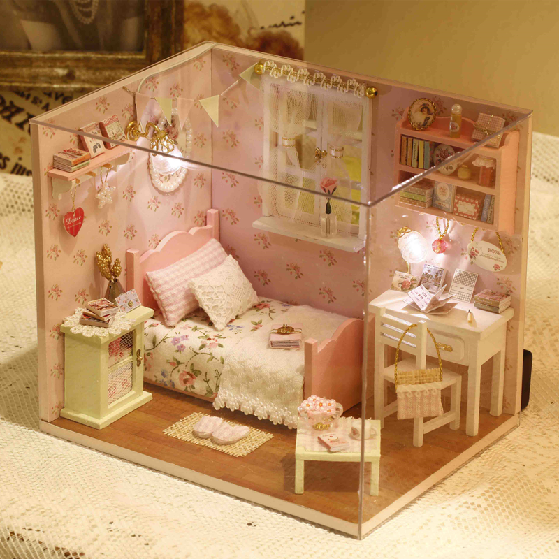 Elegant DIY Model Miniature Pink Dollhouse With Furnitures LED 3D Wooden House Toys Handmade Crafts Gifts H002 #D