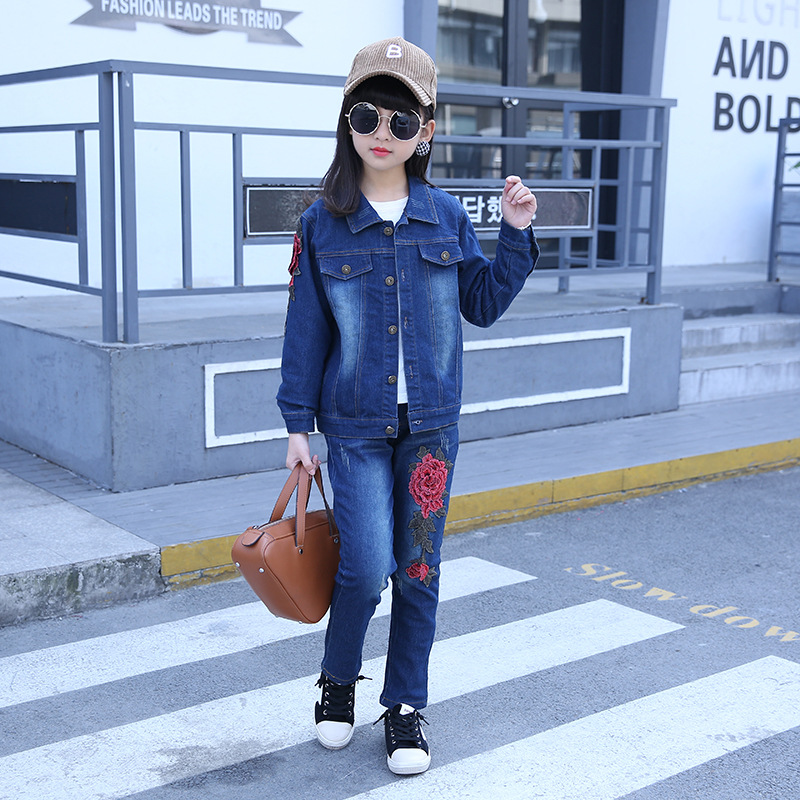 2018 new girl two sets of baby jeans rose embroidery young children ' s leisure spring and autumn girl clothes denim suits kimocat boy and girl high quality spring autumn children s cowboy suit version of the big boy cherry embroidery jeans two suits