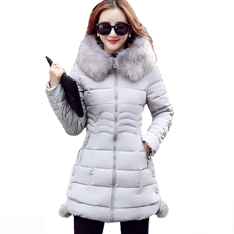 2018 Korean Mid-Long Big Fur Collar Slim   Parkas   Women Winter Jacket Hooded Warm Coat Female Down Cotton   Parka   Thick Outerwear