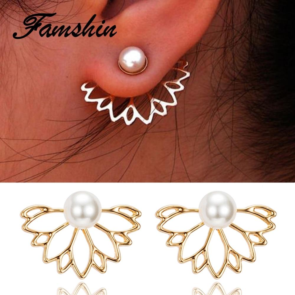 FAMSHIN 2017 Pearl Lotus Earrings Flower Stud Earrings For Women fashion Jewelry Double Sided Gold Silver Color Plated earrings