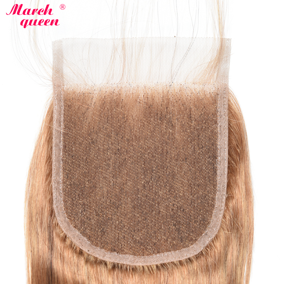 Image 5 - March Queen Honey Blonde Indian Human Hair Bundles With Closure #27 Body Wave 3 Bundles With Lace Closure Raw Indian Hair Weft-in 3/4 Bundles with Closure from Hair Extensions & Wigs