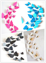 Free shipping 12pcs PVC 3d Butterfly Wall stickers Home decor with Magnet cute Butterflies for bedroom,TV,Fridge Decoration