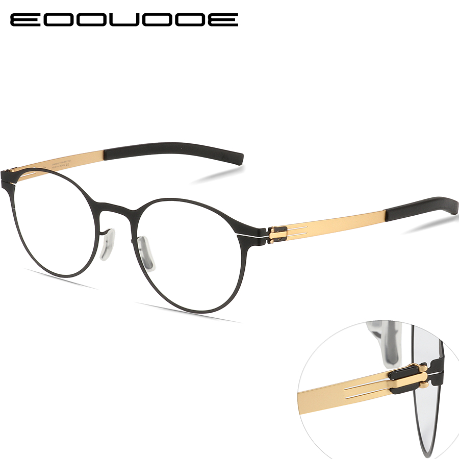 Titanium Alloy Prescription Glasses Men Ultra Light Round Shape Myopia Prescription Glasses Optical Frame Without Screw