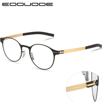 Titanium Alloy Prescription Glasses Men Ultra Light Round Shape Myopia Prescription Glasses Optical Frame Without Screw Glasse