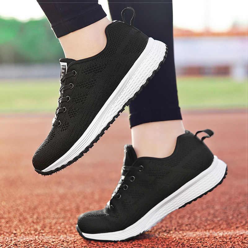 Kadın ayakkabı 2019 beyaz kadınlar için spor ayakkabı nefes yürüyüş vulkanize ayakkabı spor Flyknit rahat ayakkabılar düz spor Tenis Feminino
