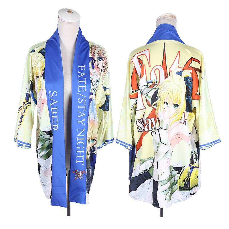 Anime Fate Stay Night FSN Kimono Cosplay Yukata Arturia Pendragon Saber Outerwear Daily Haori Harajuku Unisex Coat