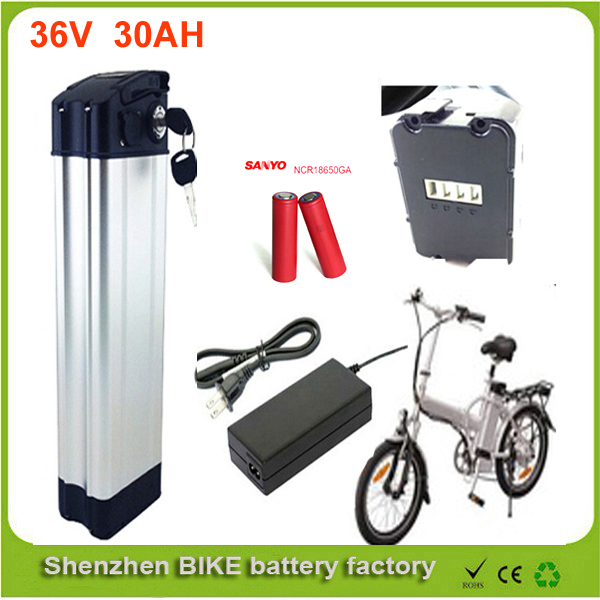 Bottom discharge 36v 30ah lithium ion battery pack for ebike 36v 1000w silver fish ebike battery with charger For Sanyo Cell lithium ion battery pack use for panasonic 2900mah cell bike battery pack 36v 15ah hailong 36v 14 5ah li ion battery 2a charger