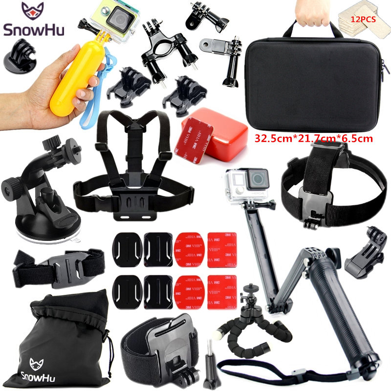 SnowHu for Gopro Accessories Set for gopro hero 5 4 3 3+ kit Three way selfie stick for  xiaomi yi 4k for Eken h8r EVA case GS46 ri 008 activity connection chain accessories for gopro hero 4 3 3