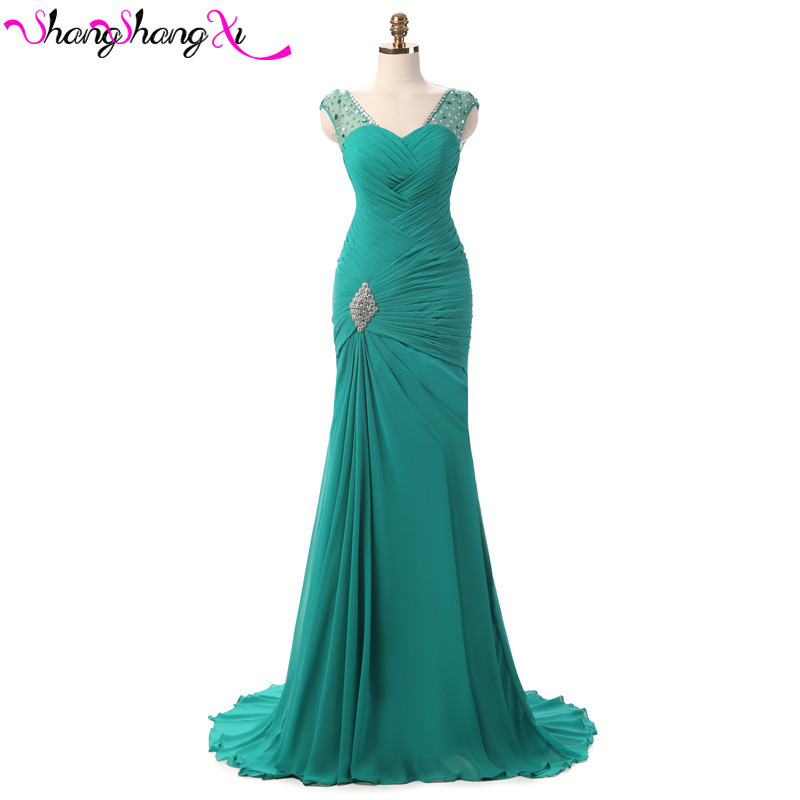 Turquoise mermaid chiffon evening dresses lace up fashion vestidos mujer red long prom dress plus size